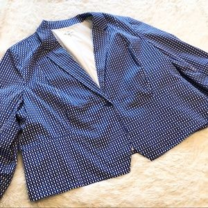 Cato Royal Blue White Print Button Blazer Jacket